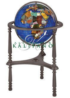 Caribbean Blue Gemstone Ambassador World Globe G-Metal Stand (Free Shipping)   Gemstone globe is handmade with a variety of semi precious stones that are individually hand carved to represent each country