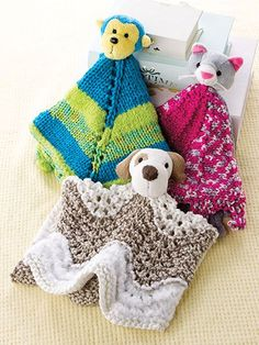 Knitting patterns for blanket buddies using Top This Yarn - This collection of patterns couldn't be easier. Just buy a ball of Top This! yarn with the cute animal head included and knit up a lovey. Pattern includes instructions for monkey, puppy, and kitten, but I'm sure you could substitute one of the other animal yarns such as giraffe, owl, teddy bear, and more. Also known as blanket buddy, lovey, lovie, comfort blanket, blanket toy, blankie, security blanket, woobie, cuddle.
