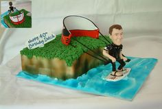40th Birthday Kite Surfing theme - made for a lady's husband who loves to kite surf, Carrot cake & cream cheese filling, polymer clay model of husband and kite, thanks for looking