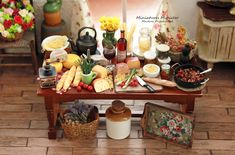 Miniature Dollhouse Italian Pasta Kitchen Workshop Table Set by Minicler on Etsy Miniature Houses, Miniature Food, Kitchen Workshop, How To Peel Tomatoes, Tiny Furniture, Italian Pasta, Table Arrangements, Ceramic Vase, Dollhouse Miniatures