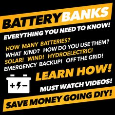 Everything you need to know about setting up your own DIY battery bank for solar, wind, hydroelectric power for emergency backup or off the grid living! Renewable Energy, Solar Energy, Solar Power, Do It Yourself Food, Solar Panel System, Solar Panels, Wind Power, Diy Solar, Off The Grid