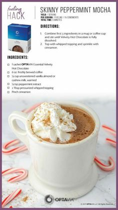 Optavia Discover Skinny Peppermint Mocha Peppermint is not just a Christmas season flavor. Enjoy this Optavia fueling hack anytime of the year. Medifast Recipes, Gourmet Recipes, Low Carb Recipes, Cooking Recipes, Healthy Recipes, Healthy Cooking, Diet Recipes, Healthy Eats, Healthy Foods