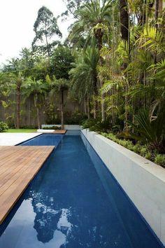 #pool #piscina #luxoryhouses Lap Swimming, Swimming Pool House, Natural Swimming Pools, Swimming Pool Designs, Natural Pools, Small Backyard Pools, Small Pools, Pool Decks, Luxury Pools