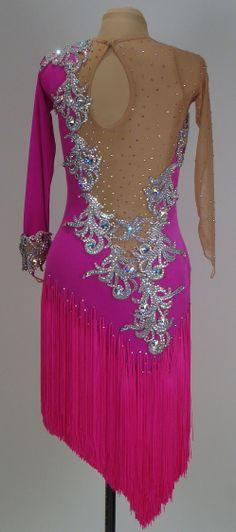Electric Pink Velvet, Pink Fringe, and AB Crystals (back)