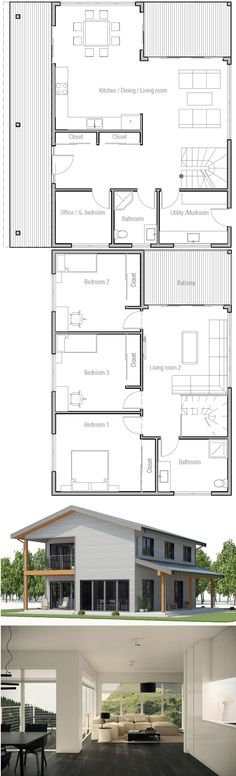 Arquitetura Dream House Plans, Small House Plans, House Floor Plans, My Dream Home, Dubai Architecture, Sims Building, Barn Living, Mountain Living, House Blueprints