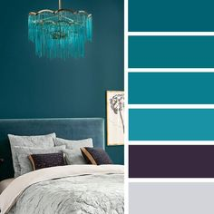 12 Best Color Schemes for Your Bedroom,Teal and purple bedroom color palette #color #bedroom #inspiration #colorschemes #pantone