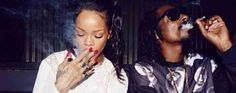 """Rihanna's latest pot post at Instagram is a photo of her and Snoop Dogg smoking blunts.  """"Chiefin wit a chief!"""" she exclaims."""