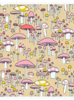 """Shrooms Pink Poplin 45"""" Print"""