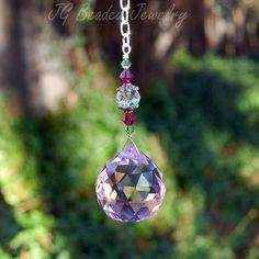 Pink Prism Crystal With Hot Pink and Light Green Swarovski Crystals #suncatchers #prism #HotPink