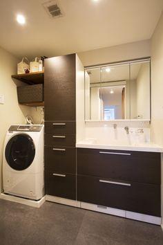 リフォーム・リノベーションの事例|洗面|施工事例No.4522人の新しい人生を始める住まい|スタイル工房 Laundry Room Design, Laundry In Bathroom, Washroom, Dream Home Design, House Design, My House, New Homes, Home Appliances, Interior
