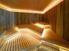 Good sauna designs and plans make your sauna project perfect. When you decide to design your own sauna, it is important to consider several factors. Heaters are the heart and soul of any sauna. Spa Interior, Interior Desing, Interior Exterior, Sauna Steam Room, Sauna Room, Steam Bath, Spa Design, Design Ideas, Architectural Digest
