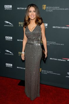Salma Hayek in a beaded silk Gucci Première gown during the BAFTA LA Jaguar Britannia Awards in California