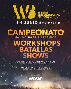 Estás listo para #W8? @w8fest Será algo inovidable! Campeonato Workshop Batallas y Show los días 3 y 4 de Junio en Madrid | www.w8fest.com  #wosap #w8fest #campeonato #workshop #batallas #shows #festival #internacional #danza #showcase #1v1 #allstyles #battles #madrid #spain