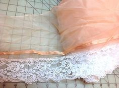 Peach Sheer with Peach Ribbon and White Lace     9 inches wide    1 yard