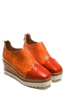 Square Toe Color Block Platform Shoes