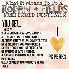 These are great perks to being a Rodan + Fields PC! if you want more details message or email me knilsson022@gmail.com