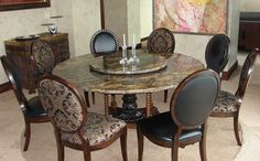 Wood and granite stone dining table set in round shape table workwithnaturefo