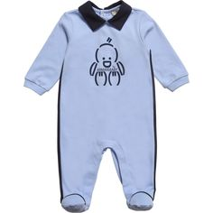 Armani Baby Boys Blue Cotton Babygrow at Childrensalon.com