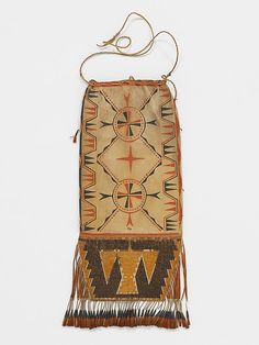 Tobacco Bag Date: 1700–1721 Geography: United States, Great Lakes Culture: Great Lakes, probably Ojibwa Medium: Native-tanned leather, pigment, porcupine quills, metal cones, deer hair