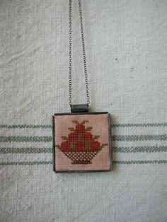 Cross Stitch Tin Pendant Necklace - Berry Basket on Etsy $32.00