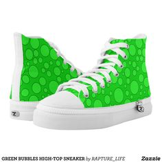 GREEN BUBBLES HIGH-TOP SNEAKER - Canvas-Top Rubber-Sole Athletic Shoes By Talented Fashion And Graphic Designers - #shoes #sneakers #footwear #mensfashion #apparel #shopping #bargain #sale #outfit #stylish #cool #graphicdesign #trendy #fashion #design #fashiondesign #designer #fashiondesigner #style