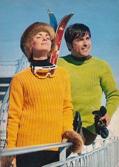 vintage ski sweaters from Spinnerin Yarn knitting pattern book 1971 Ski Sweater, Jumper, Vintage Ski Posters, Skiing, Snowboarding, Vintage Sportswear, Slim Aarons, Vintage Winter, Ski Fashion