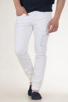 Παντελόνι υφασμάτινο λευκό πεντάτσεπο αντρικό sorbino