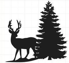 deer and pine tree silhouette Silhouette Portrait, Silhouette Art, Silhouette Cameo Projects, Deer Silhouette Printable, Silhouette Cameo Files, Silhouette Pictures, Kiefer Silhouette, Hirsch Silhouette, Pine Tree Silhouette