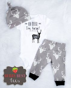 Oh Deer I'm Here Newborn Boy Bodysuit Newborn by BerryBestTees