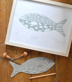 'Curly Fish (Light Grey)' is a limited edition, hand made and original lino print. This print came about after I had been doing some ink drawings