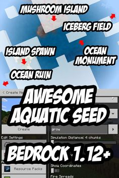 A great aquatic spawn seed for Minecraft PE! Minecraft Banner Designs, Minecraft Banners, Minecraft Decorations, Minecraft Creations, Minecraft Projects, Minecraft Crafts, Minecraft Furniture, Minecraft Redstone, Minecraft Blueprints