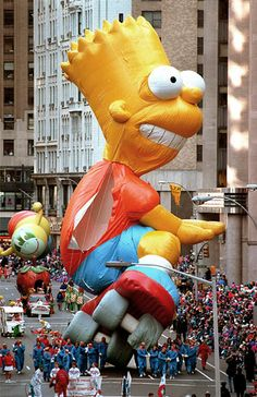 Memorable Macys Thanksgiving Day Parade Balloons Bart Simpson Balloon Splits A Seam In