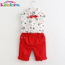 Keelorn Estilo Meninos Roupas Conjuntos de Roupas Meninos 2017 Moda Primavera Verão Impressão da Camisa + Calça + Cinto Vermelho 3 Pcs para Conjuntos de Roupas Crianças(China (Mainland))