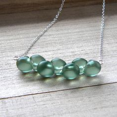 Necklace, Frosted Mint Green Glass Sterling Silver Necklace - Garden Party