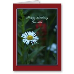 Happy Birthday Greeting Card, Single White Wildflower, Wildflowers, Red Border.  Greeting Cards.  #HappyBirthday  See Matching products and other designs at www.zazzle.com/SocolikCardShop*