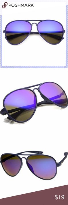 Purple aviator retro sunglasses New- flawless. Women's aviator retro sunglasses with UV400 protection. Soft rubber texture that is uniquely smooth to the touch- excellent quality! Cut-out nose bridge & metal accents around temples. Materials: acetate base frame, metal hinges, & polycarbonate UV protected lenses. Lens width: 55mm, Nose bridge: 22mm. Bundle to save! NO TRADES, no modeling. REASONABLE offers welcome via offer button. SolSkin Accessories Sunglasses