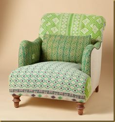 One Of A Kind Benazir Sari Armchair, Sundance Catalog Like the shape, not crazy about the upholstery colors/patterns,changes can be made. Eclectic Furniture, Rustic Furniture, Furniture Design, Funky Furniture, Eclectic Decor, Furniture Decor, Funky Home Decor, Upholstered Arm Chair, Diy Chair