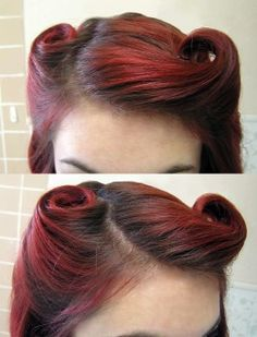 Pin-up hairstyles are hot, and the victory rolls hairdo is a staple! Check out this easy tutorial for an adorable vintage look. Pin-up hairstyles are hot, and the victory rolls hairdo is a staple! Check out this easy tutorial for an adorable vintage look. Retro Hairstyles, Easy Hairstyles, Wedding Hairstyles, Vintage Hairstyles Tutorial, 1940s Hairstyles For Long Hair, Hairstyle Tutorials, Vintage Hair Tutorials, Natural Hairstyles, Vintage Updo Tutorial