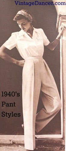 "Womens 1940s Pants Styles History and Buying Guide - ""Man Tailored "" Pants 1944"
