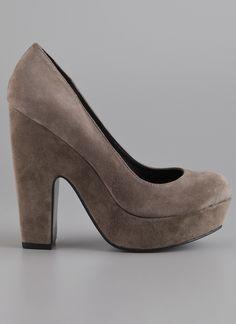 Grey Suede Chunky Heels