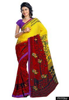 Beautiful yellow and red printed chiffon saree