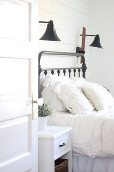 A Farmhouse Bedroom Makeover- Part 4 Lamps and Nightstands - Master Bedroom Id. - A Farmhouse Bedroom Makeover- Part 4 Lamps and Nightstands - Master Bedroom Ideas - - Bedroom Light Fixtures, Bedroom Lamps, Home Bedroom, Bedroom Furniture, Bedroom Decor, Bedroom Ideas, Bedroom Ceiling, Bedroom Lighting, Teen Bedroom