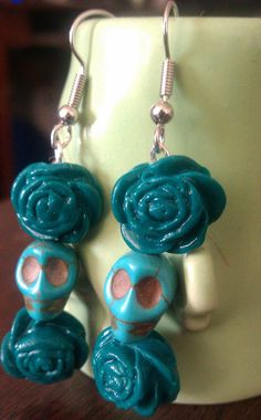Zombie Green Turquoise Skull Day of the dead by msformaldehyde, $8.00