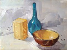 Still Life with Gold Bowl,  Oil on board by Podi Lawrence