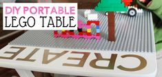 Make this easy portable DIY Lego table from an old TV stand. You can even have it match your decor. A Lego mat, paint, glue and stickers. Lego Table, Diy Table, Tv Stand Out Of Pallets, Old Tv Stands, Diy Tv Stand, When Im Bored, Portable, Legos, Awesome Stuff