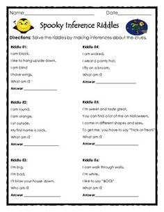 Spooky Inference Riddles - Fun Halloween Printable by The Teacher Treasury Halloween Riddles, Halloween Activities, Halloween Printable, Halloween Stories For Kids, Spooky Stories, Speech Activities, Language Activities, Classroom Activities, Classroom Ideas