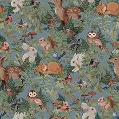 Wallpaper Woodlands Dusty and charming describe the myriad of animals in our Fleur Harris collaborative wallpaper. Digitally hand painted €˜Woodlands€™ is a unique work of art featuring bunnies, deer, foxes and birds woven amongst an Animal Wallpaper, Home Wallpaper, Wallpaper Ideas, Woodland Nursery, Woodland Animals, How To Install Wallpaper, Water Based Stain, Black And White Baby, Animal Decor