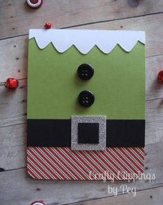 Christmas Card Elf Card Unique Christmas by CraftyClippingsbyPeg