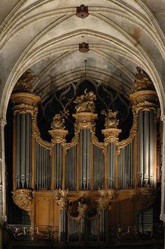 Great pipe organ in the Saint-Séverin church in Paris, France.