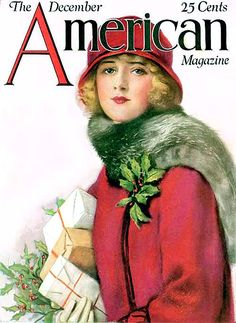 The beautifully illustrated front cover of American Magazine, December 1925. #vintage #1920s #Christmas